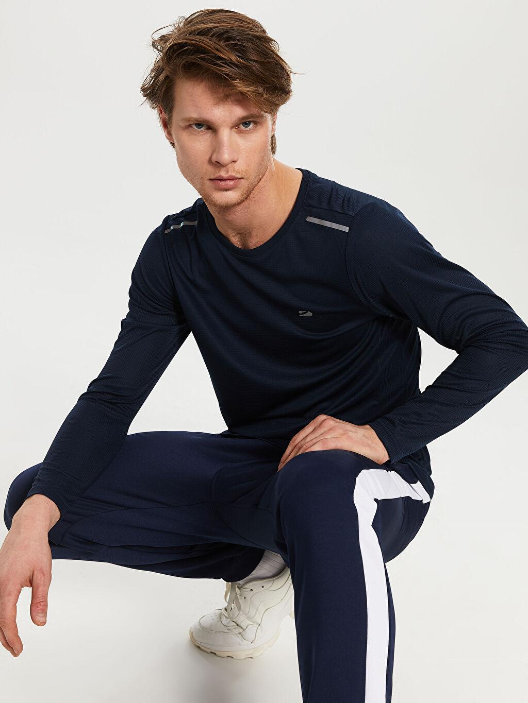 %100 Polyester Düz Standart Uzun Kol Tişört Bisiklet Yaka Bisiklet Yaka Aktif Spor Tişört