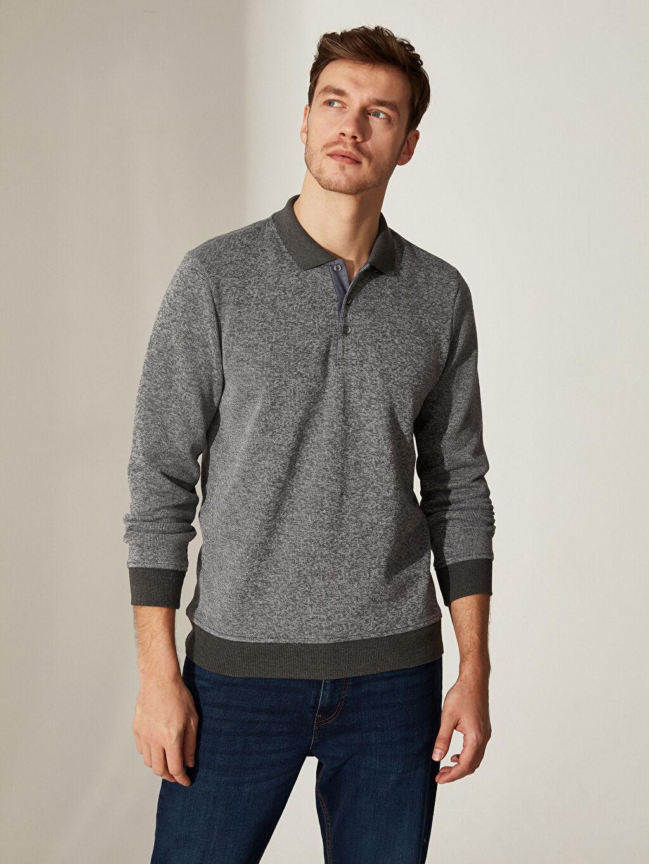 %15 Pamuk %85 Polyester  Polo Yaka Kırçıllı Sweatshirt