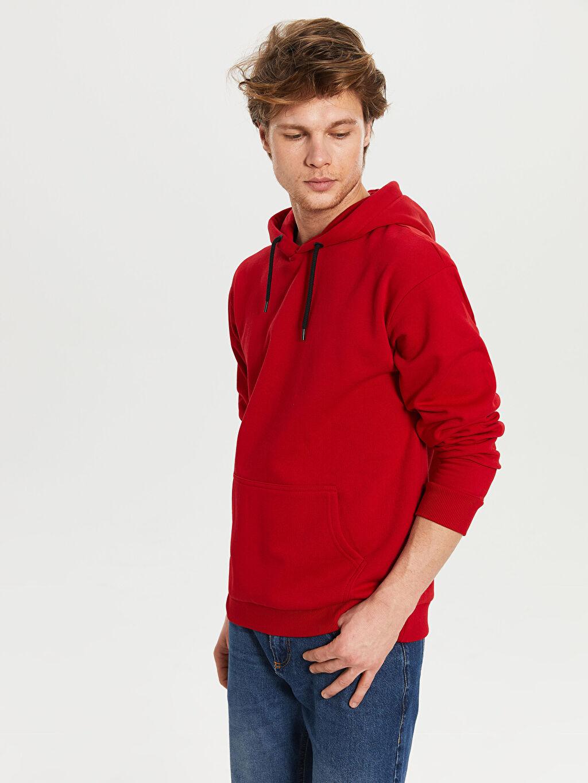 %70 Pamuk %30 Polyester  Kapüşonlu Basic Kalın Sweatshirt
