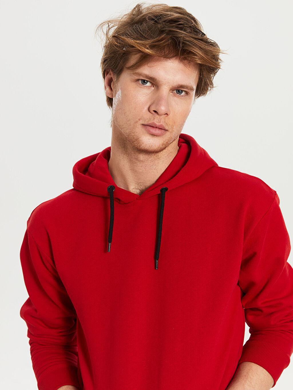 Erkek Kapüşonlu Basic Kalın Sweatshirt