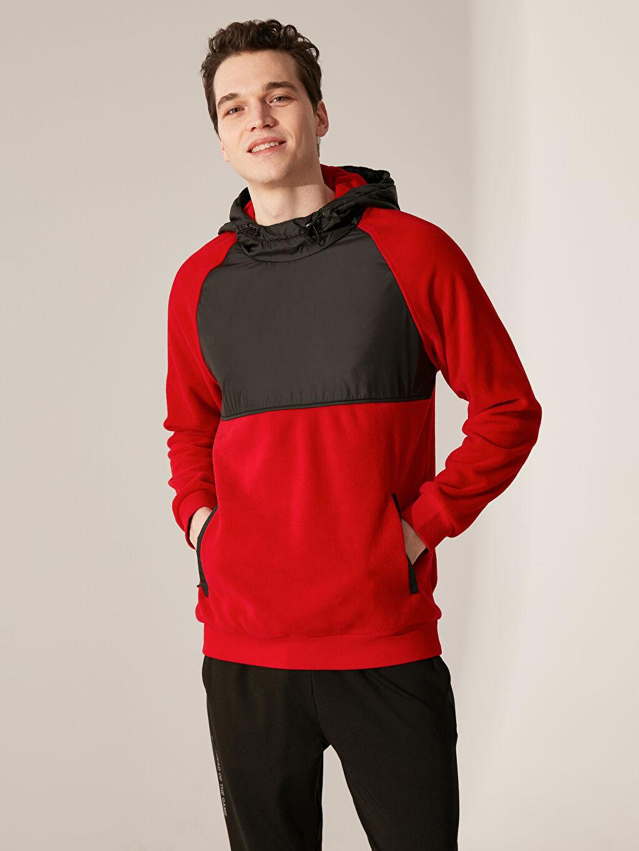Kırmızı Kapüşonlu Aktif Spor Polar Sweatshirt 9WB732Z8 LC Waikiki