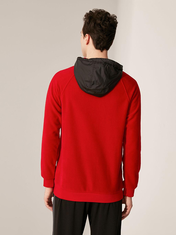Erkek Kapüşonlu Aktif Spor Polar Sweatshirt