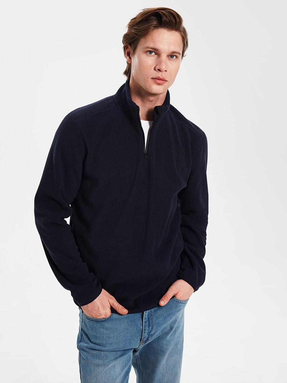 Lacivert Dik Yaka Polar Basic Sweatshirt 9WB780Z8 LC Waikiki