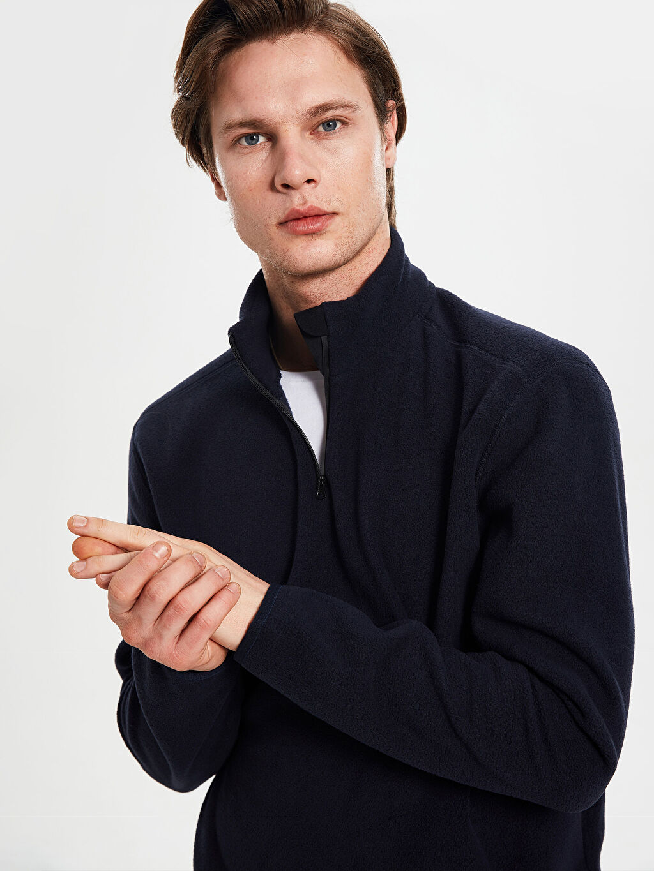 %100 Polyester  Dik Yaka Polar Basic Sweatshirt