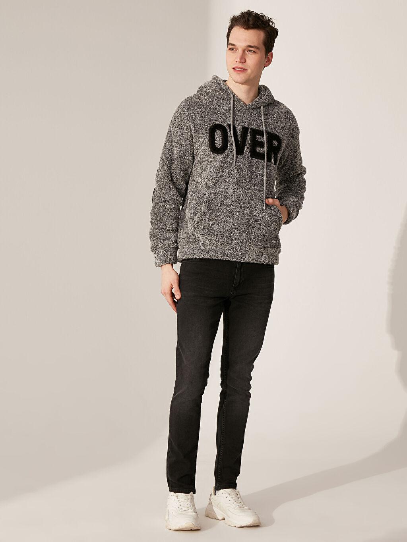 %100 Polyester Kapüşonlu Baskılı Pelüş Sweatshirt