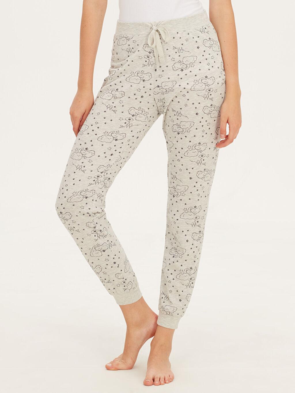 %48 Pamuk %52 Polyester Standart Pijamalar Desenli Jogger Pijama Alt