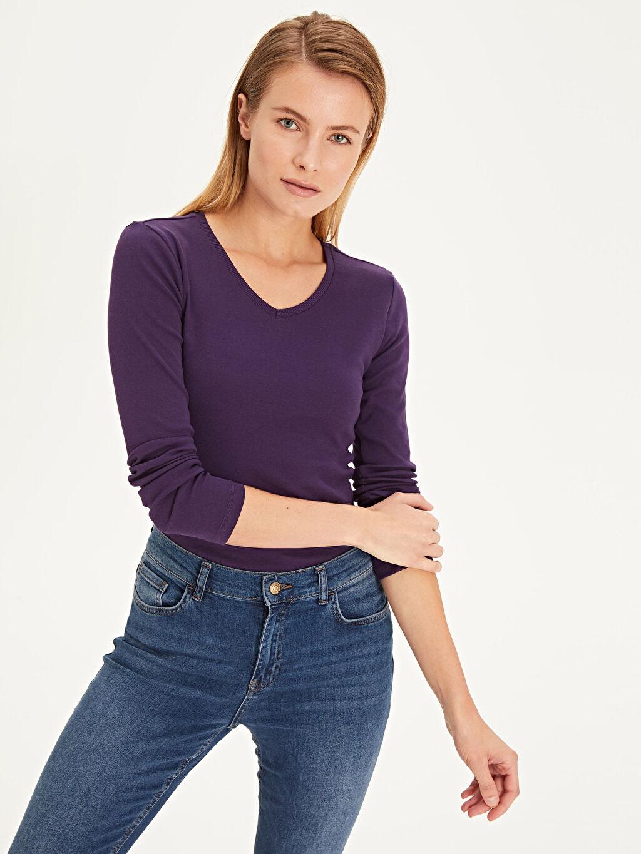 %100 Pamuk Tişört V yaka Düz Yok Uzun Kol Standart Pamuklu V Yaka Tişört