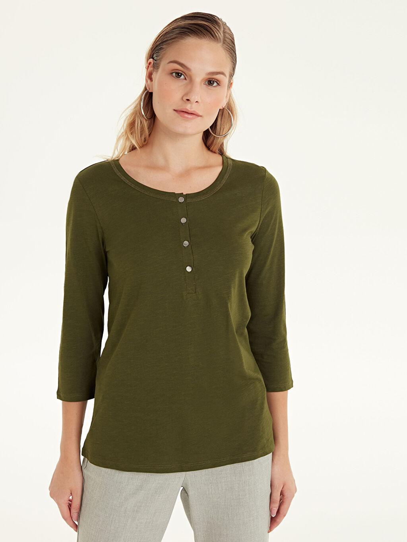 %100 Pamuk Standart Düz Uzun Kol Tişört Diğer Yakası Düğmeli Düz Pamuklu Tişört