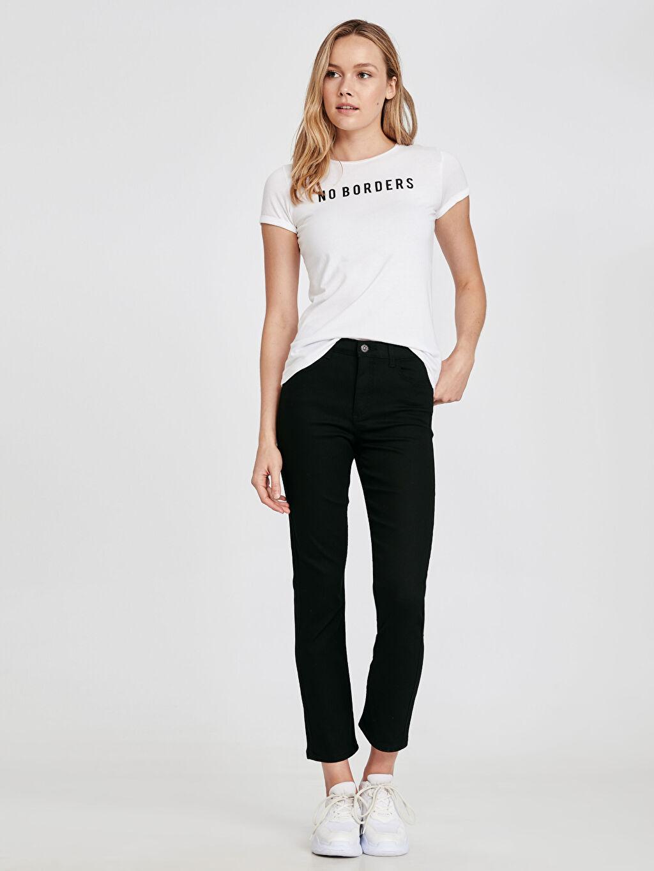 %71 Pamuk %26 Polyester %3 Elastan Yüksek Bel Standart Jean Düz Paça Jean Pantolon