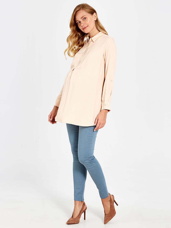 %71 Pamuk %25 Polyester %4 Elastan Pantolon Skinny Hamile Pantolon