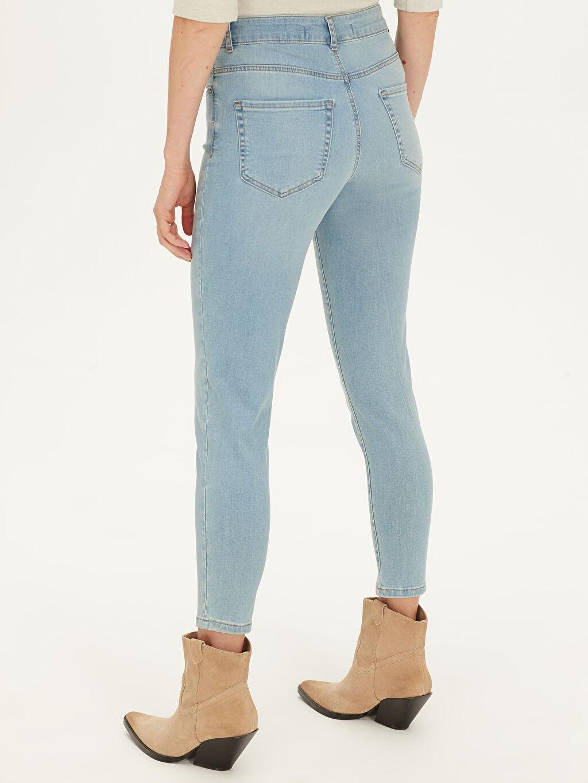 %90 Pamuk %7 Polyester %3 Elastan Yüksek Bel Skinny Jean Pantolon