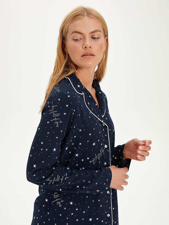 %100 Viskoz Yıldız Baskılı Viskon Pijama Takımı