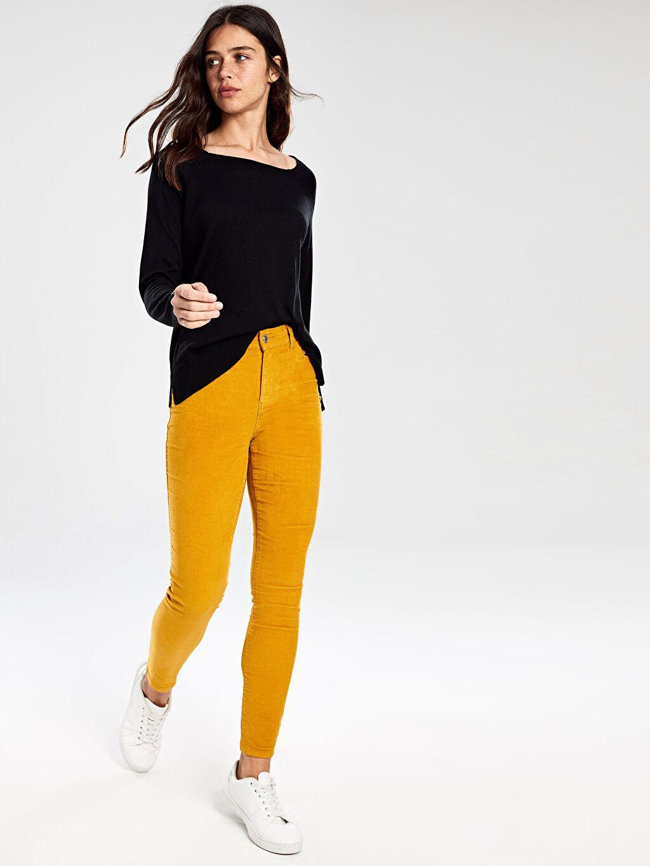 %98 Pamuk %2 Elastan Kadife Dar Paça Pantolon Normal Bel Skinny Kadife Skinny Pantolon