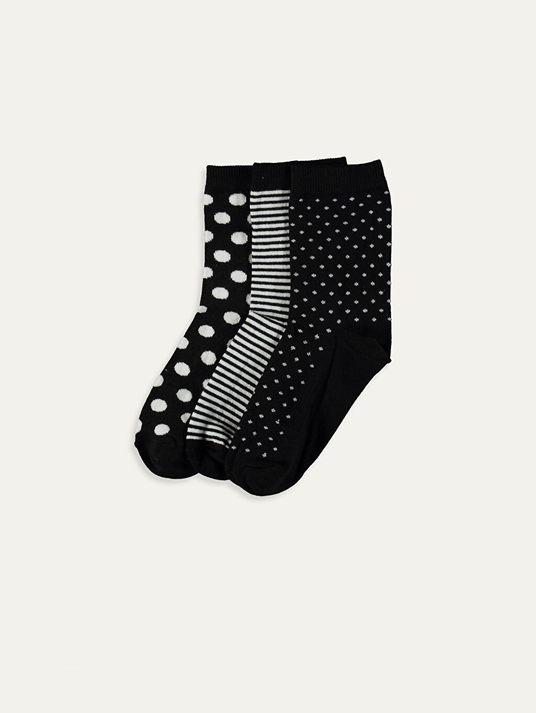 Siyah Desenli Soket Çorap 3'lü 9W5845Z8 LC Waikiki
