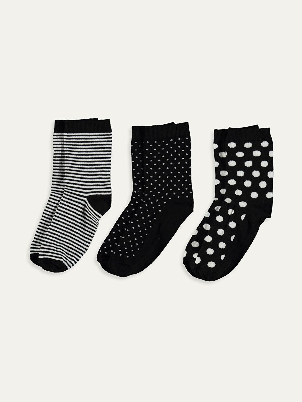 %85 Pamuk %13 Poliamid %2 Elastan  Desenli Soket Çorap 3'lü