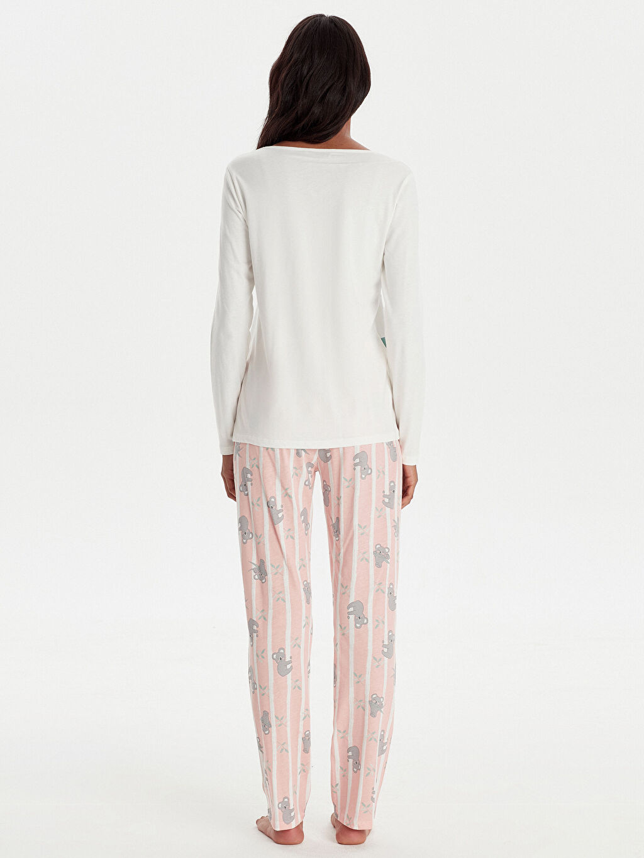 %100 Pamuk Standart Pijamalar Slogan Baskılı Pamuklu Pijama Takımı