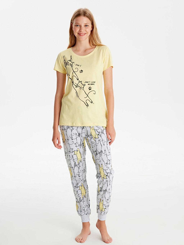Sarı Baskılı Pamuklu Pijama Takımı 9W7508Z8 LC Waikiki
