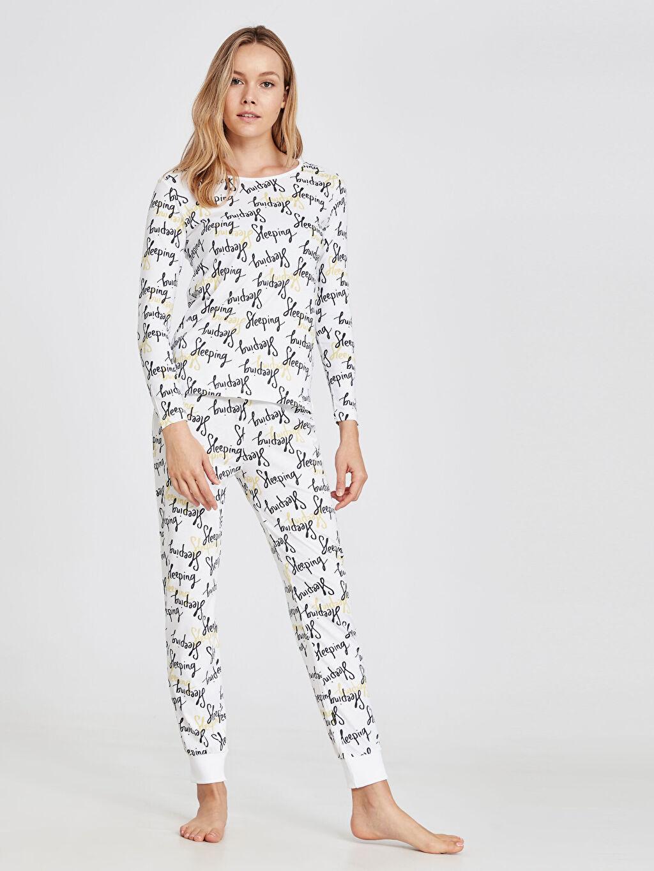 Beyaz Yazı Baskılı Pamuklu Pijama Takımı 9W7510Z8 LC Waikiki