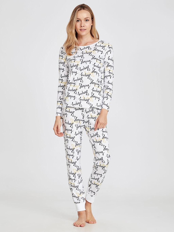 %100 Pamuk Pijamalar Yazı Baskılı Pamuklu Pijama Takımı
