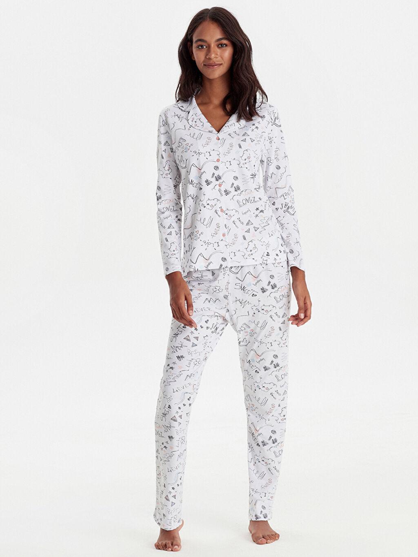 Beyaz Desenli Pamuklu Pijama Takımı 9W7514Z8 LC Waikiki