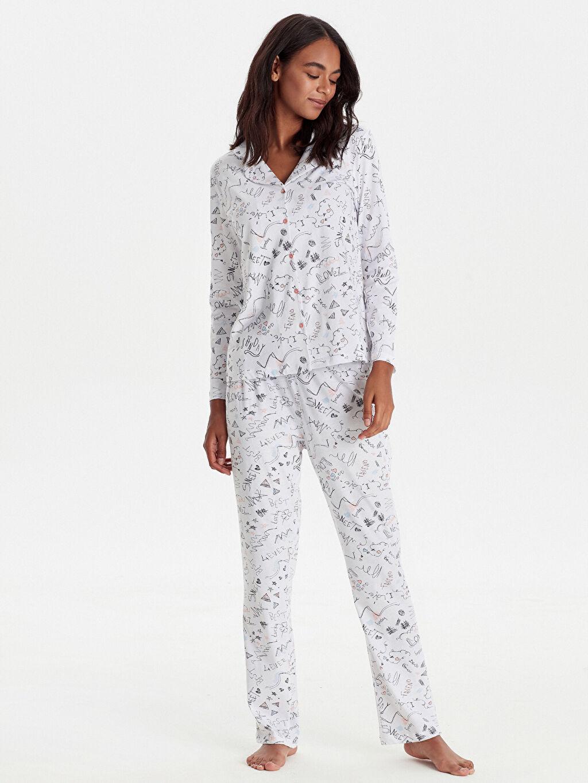 %100 Pamuk Standart Pijamalar Desenli Pamuklu Pijama Takımı