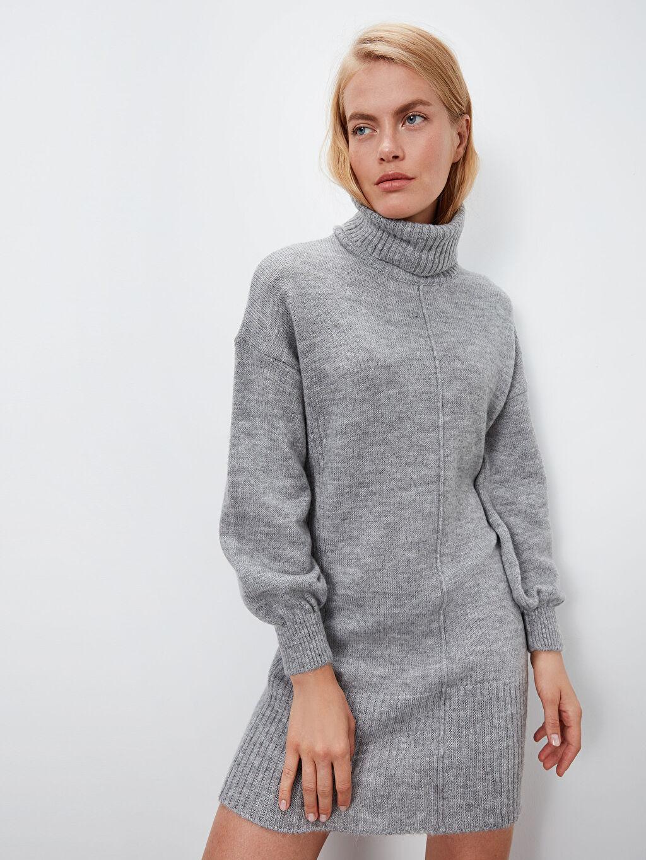 %78 Akrilik %22 Polyester Uzun Düz Uzun Kol Düz Şal Yaka Triko Elbise