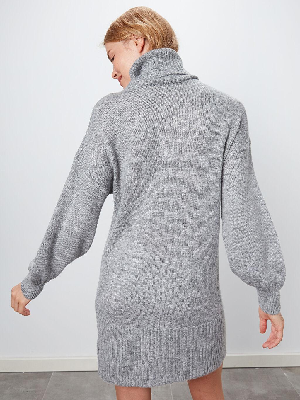 %78 Akrilik %22 Polyester Düz Şal Yaka Triko Elbise
