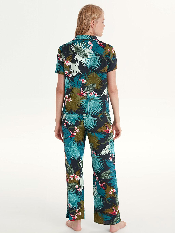 %100 Viskoz Desenli Viskon Pijama Takımı