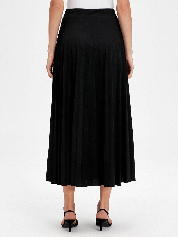 Kadın Beli Lastikli Uzun Pileli Etek