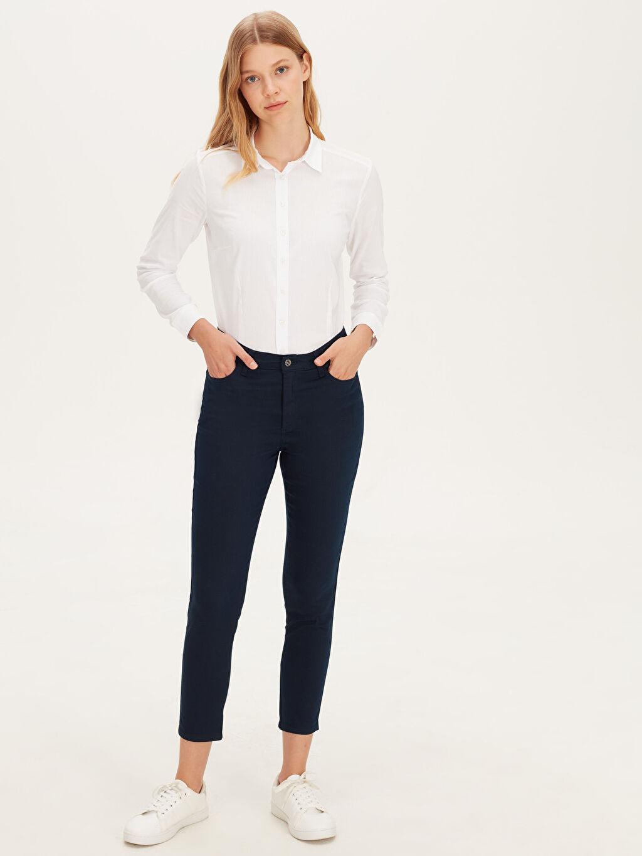 %67 Pamuk %29 Polyester %4 Elastan Yüksek Bel Pantolon Skinny Bilek Boy Slim Pantolon