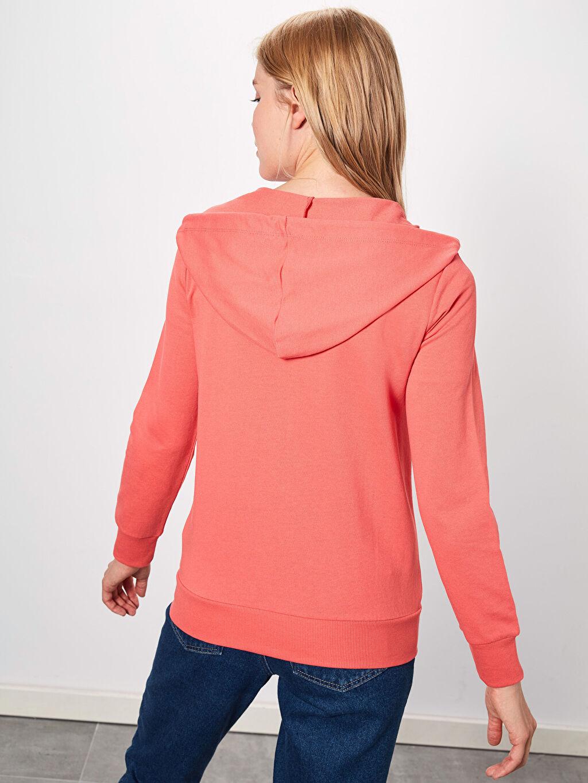 %48 Pamuk %52 Polyester  Kapüşonlu Fermuarlı Sweatshirt