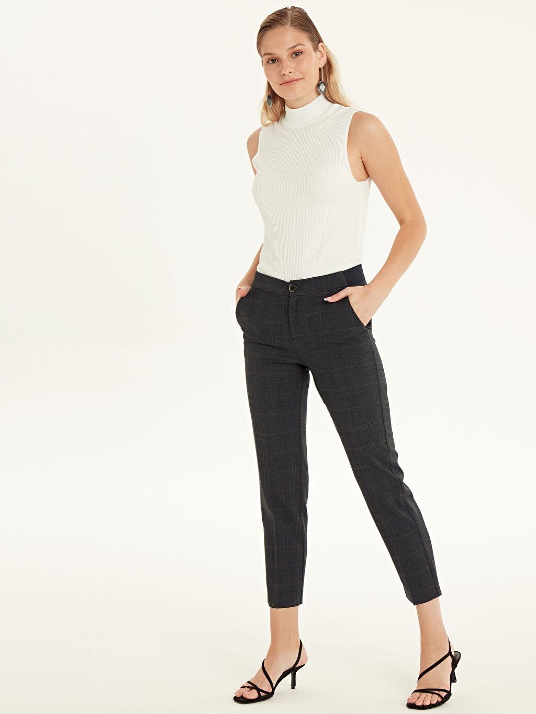 %64 Polyester %33 Viskon %3 Elastan Normal Bel Esnek Standart Ekoseli Esnek Pantolon