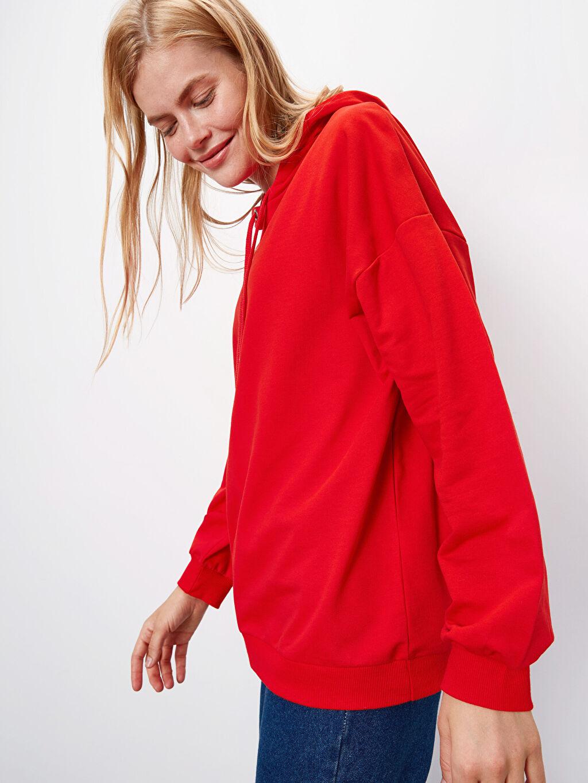 Kırmızı Kapüşonlu Pamuklu Sweatshirt 9W9918Z8 LC Waikiki