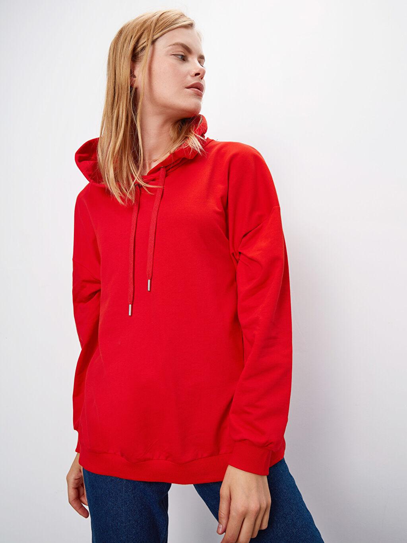 Kadın Kapüşonlu Pamuklu Sweatshirt