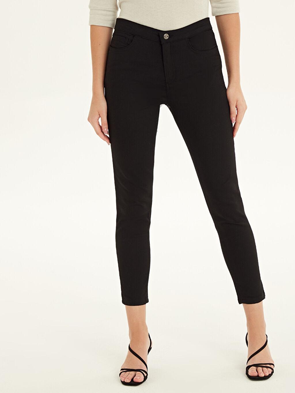 %65 Pamuk %32 Polyester %3 Elastan Yüksek Bel Esnek Pantolon Standart Düz Paça Esnek Pantolon