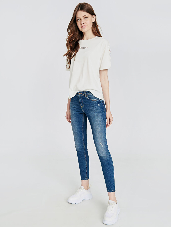 %84 Pamuk %14 Polyester %2 Elastan Normal Bel Dar Jean Sökük Detaylı Skinny Jean Pantolon