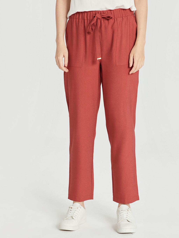 Kadın Beli Lastikli Viskon Havuç Pantolon