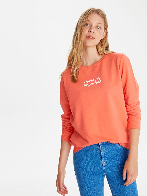 %69 Pamuk %31 Polyester  Yazı Baskılı Sweatshirt