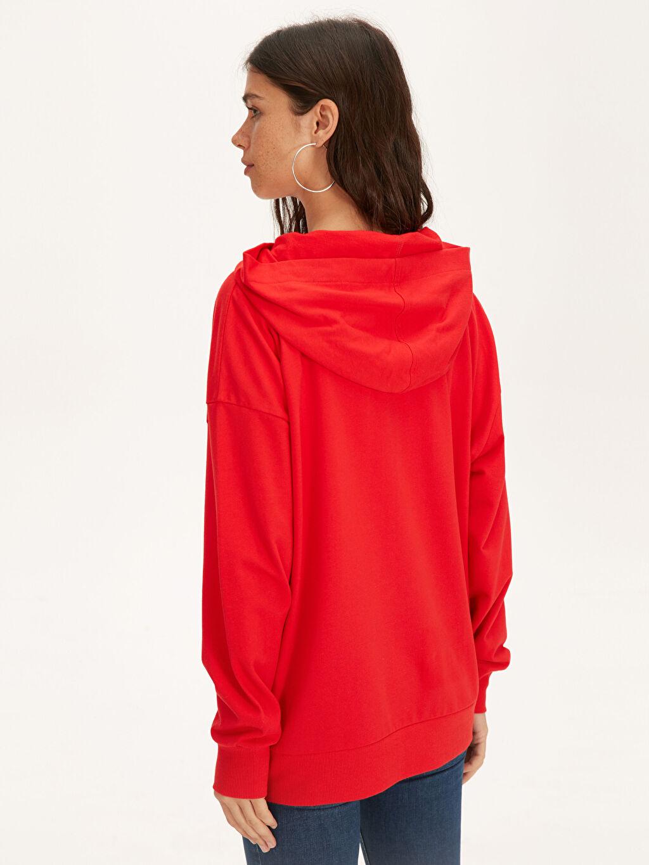 Kadın Slogan Baskılı Pamuklu Sweatshirt
