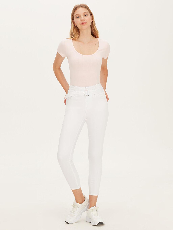 Beyaz Kemerli Skinny Pantolon 9WI999Z8 LC Waikiki