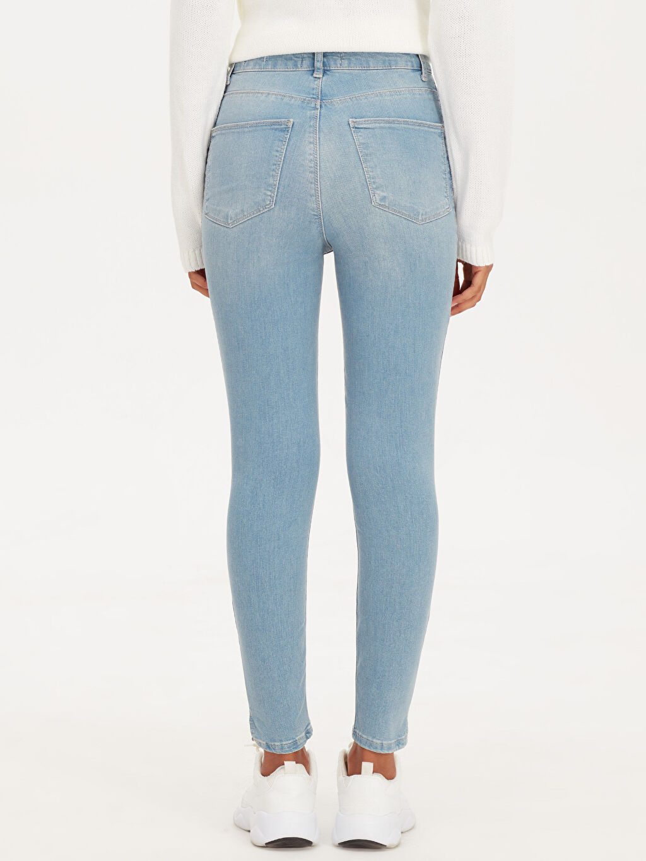 %84 Pamuk %14 Polyester %2 Elastan Yüksek Bel Super Skinny Jean Pantolon