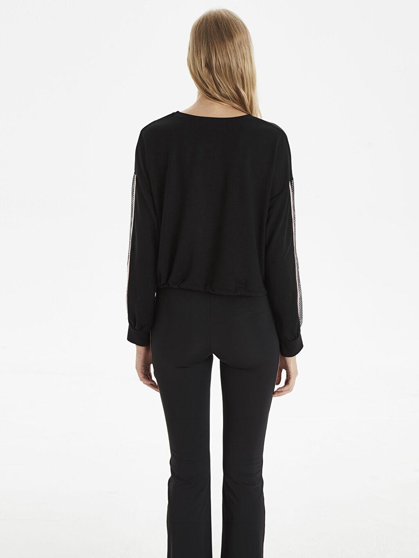 Kadın Kolları Şerit Detaylı Sweatshirt