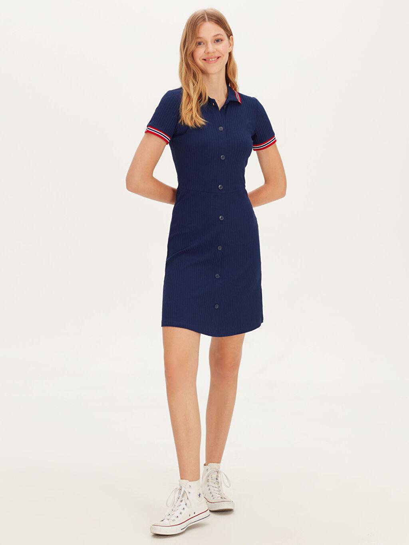 %92 Viskon %8 Elastan Diz Üstü Düz Kısa Kol Esnek Mini Gömlek Elbise
