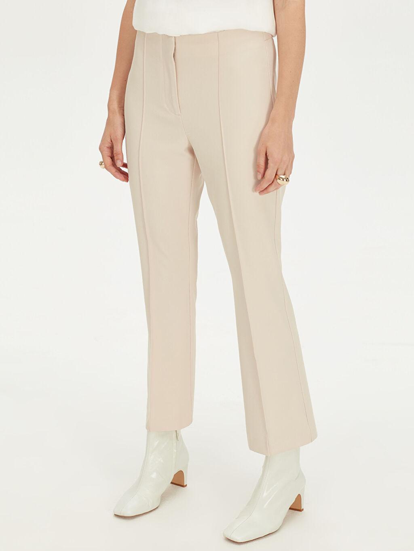 %93 Polyester %7 Elastan Normal Bel Esnek Standart Geniş Paça Kumaş Pantolon Geniş Paça Bilek Boy Kumaş Pantolon