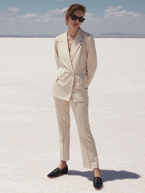 %93 Polyester %7 Elastan Geniş Paça Bilek Boy Kumaş Pantolon