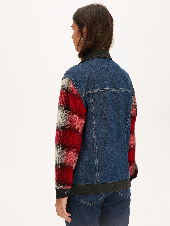 %100 Pamuk Kolları Ekose Detaylı Jean Ceket