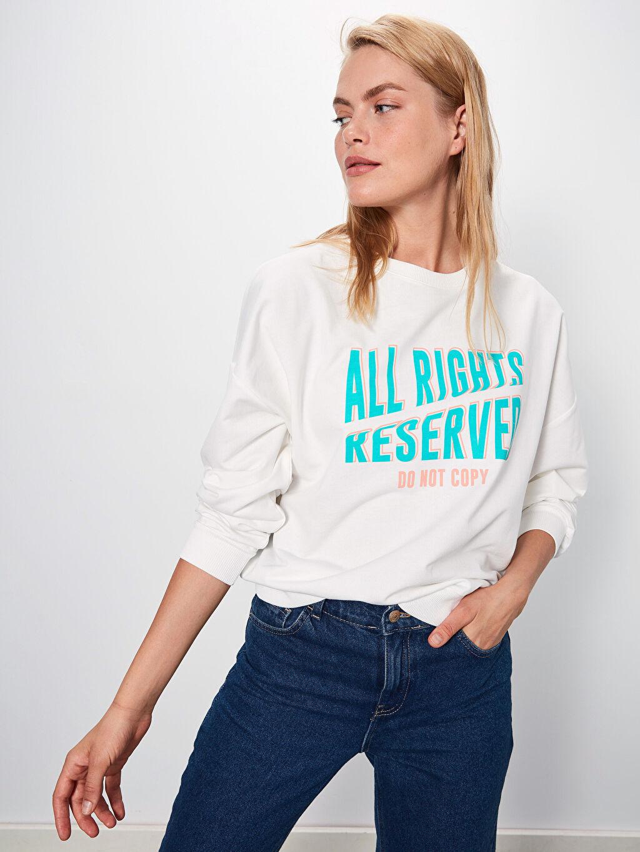 %51 Pamuk %49 Polyester  Slogan Baskılı Sweatshirt