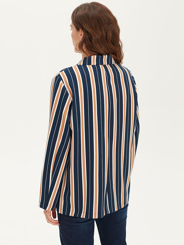 %85 Polyester %15 Elastan Çizgili Blazer Ceket