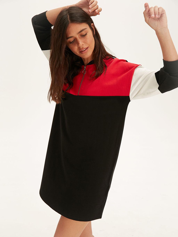 Siyah Renk Bloklu Pamuklu Salaş Elbise 9WK945Z8 LC Waikiki