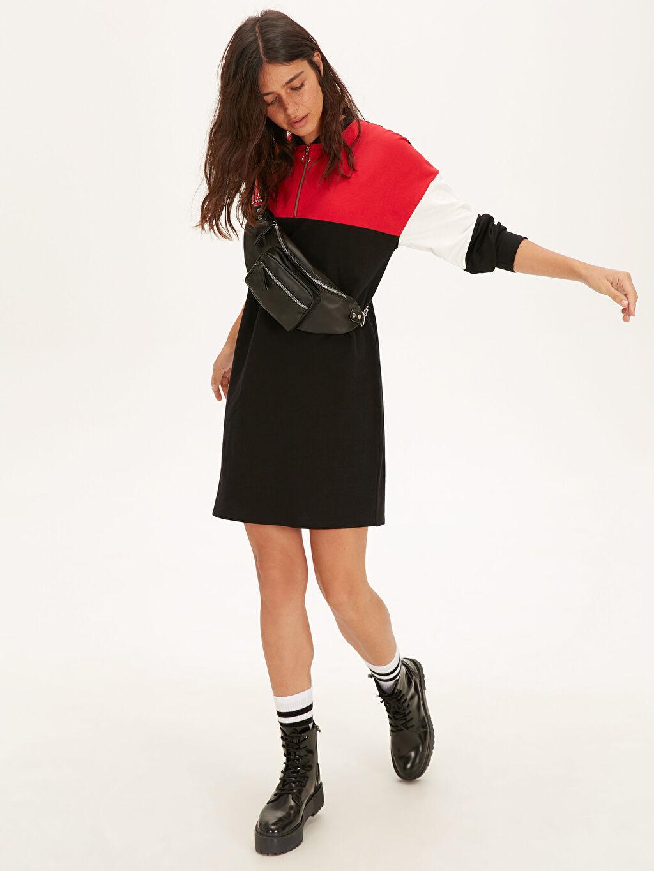 Kadın Renk Bloklu Pamuklu Salaş Elbise